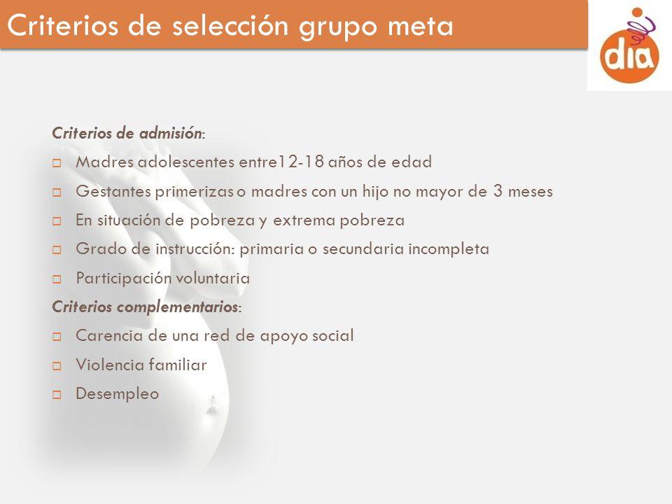 Criterios de admisión: Madres adolescentes entre12-18 años de edad Gestantes primerizas o madres con un hijo no mayor de 3 meses En situación de pobre