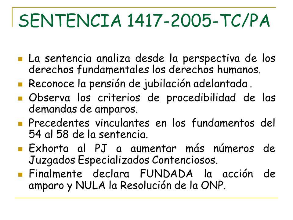 SENTENCIA 1417-2005-TC/PA La sentencia analiza desde la perspectiva de los derechos fundamentales los derechos humanos. Reconoce la pensión de jubilac