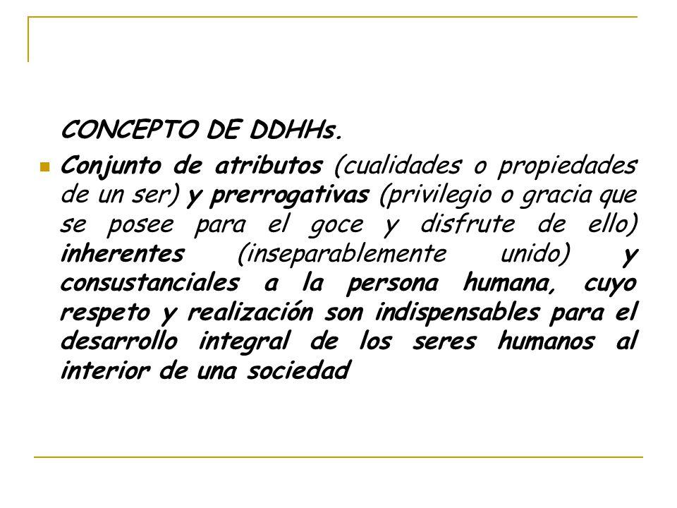 CONCEPTO DE DDHHs. Conjunto de atributos (cualidades o propiedades de un ser) y prerrogativas (privilegio o gracia que se posee para el goce y disfrut