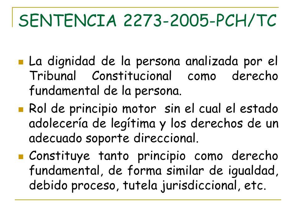 SENTENCIA 2273-2005-PCH/TC La dignidad de la persona analizada por el Tribunal Constitucional como derecho fundamental de la persona. Rol de principio