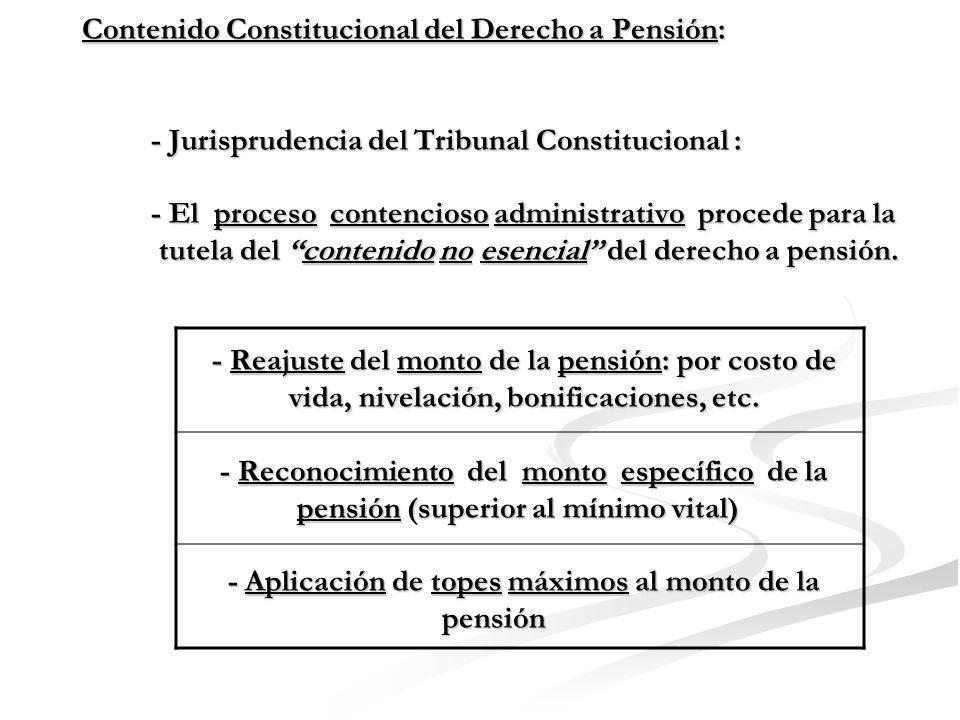 Contenido Constitucional del Derecho a Pensión: - El proceso de amparo procede para la tutela del conte- nido esencial del derecho a pensión directamente pro- tegido por la Constitución.