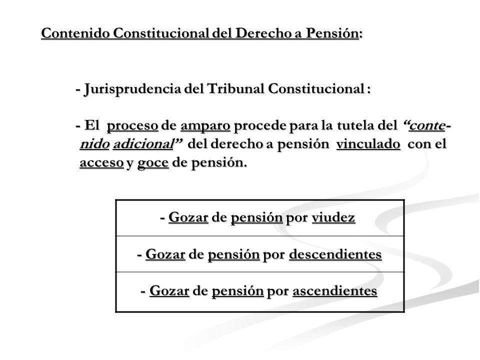 Contenido Constitucional del Derecho a Pensión: - Jurisprudencia del Tribunal Constitucional : - El proceso contencioso administrativo procede para la tutela del contenido no esencial del derecho a pensión.