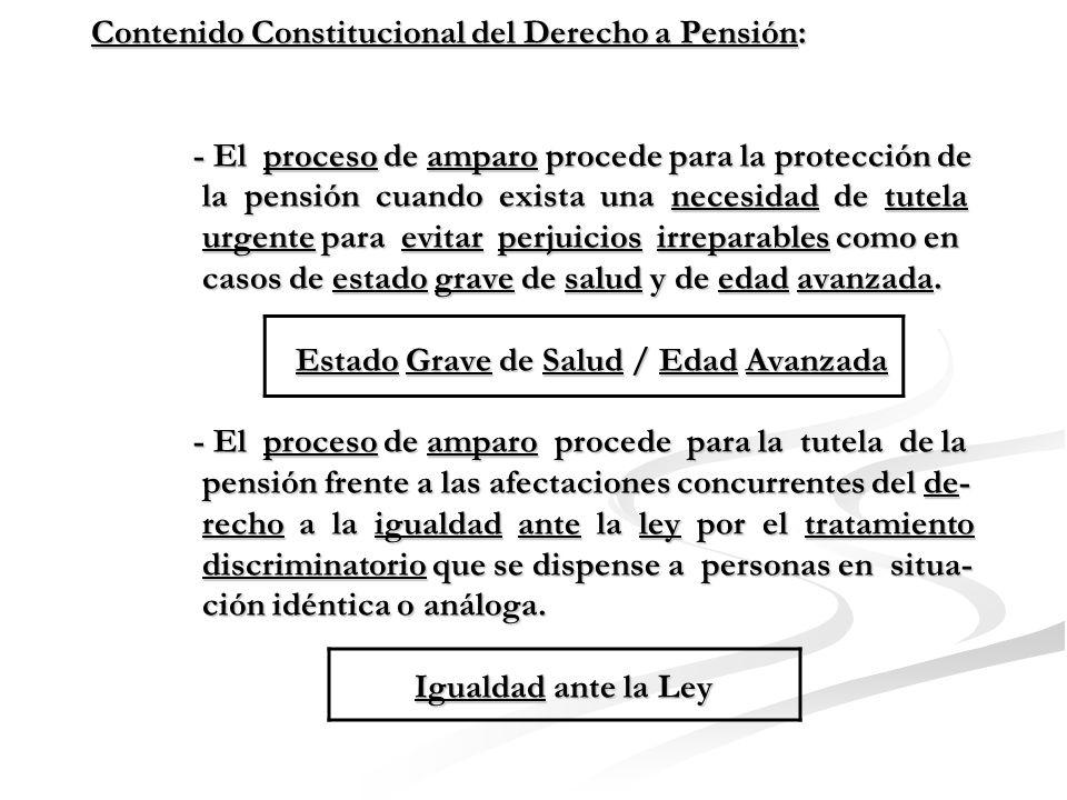 Contenido Constitucional del Derecho a Pensión: - Jurisprudencia del Tribunal Constitucional : - El proceso de amparo procede para la tutela del conte- nido adicional del derecho a pensión vinculado con el acceso y goce de pensión.