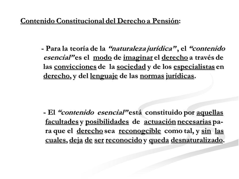 Contenido Constitucional del Derecho a Pensión: - Para la teoría de la naturaleza jurídica, el contenido esencial es el modo de imaginar el derecho a través de las convicciones de la sociedad y de los especialistas en derecho, y del lenguaje de las normas jurídicas.