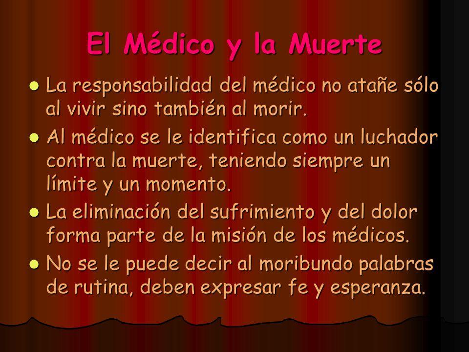 El Médico y la Muerte La responsabilidad del médico no atañe sólo al vivir sino también al morir. La responsabilidad del médico no atañe sólo al vivir