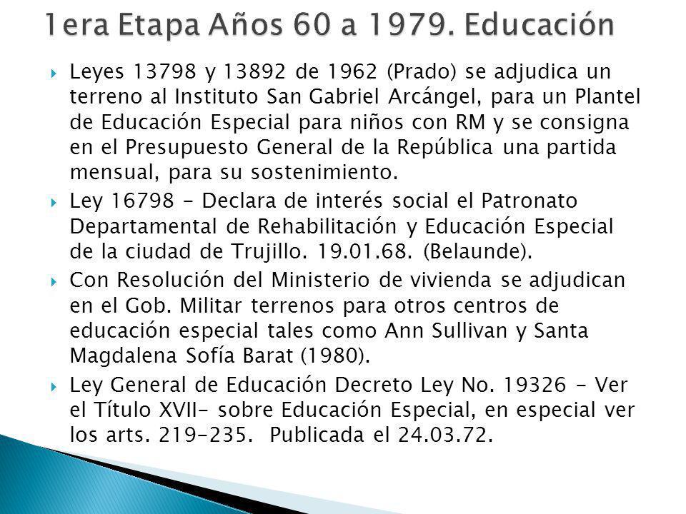 Leyes 13798 y 13892 de 1962 (Prado) se adjudica un terreno al Instituto San Gabriel Arcángel, para un Plantel de Educación Especial para niños con RM y se consigna en el Presupuesto General de la República una partida mensual, para su sostenimiento.