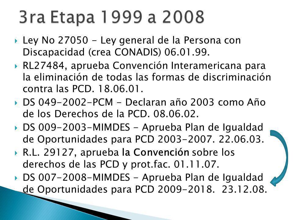 Ley No 27050 - Ley general de la Persona con Discapacidad (crea CONADIS) 06.01.99.