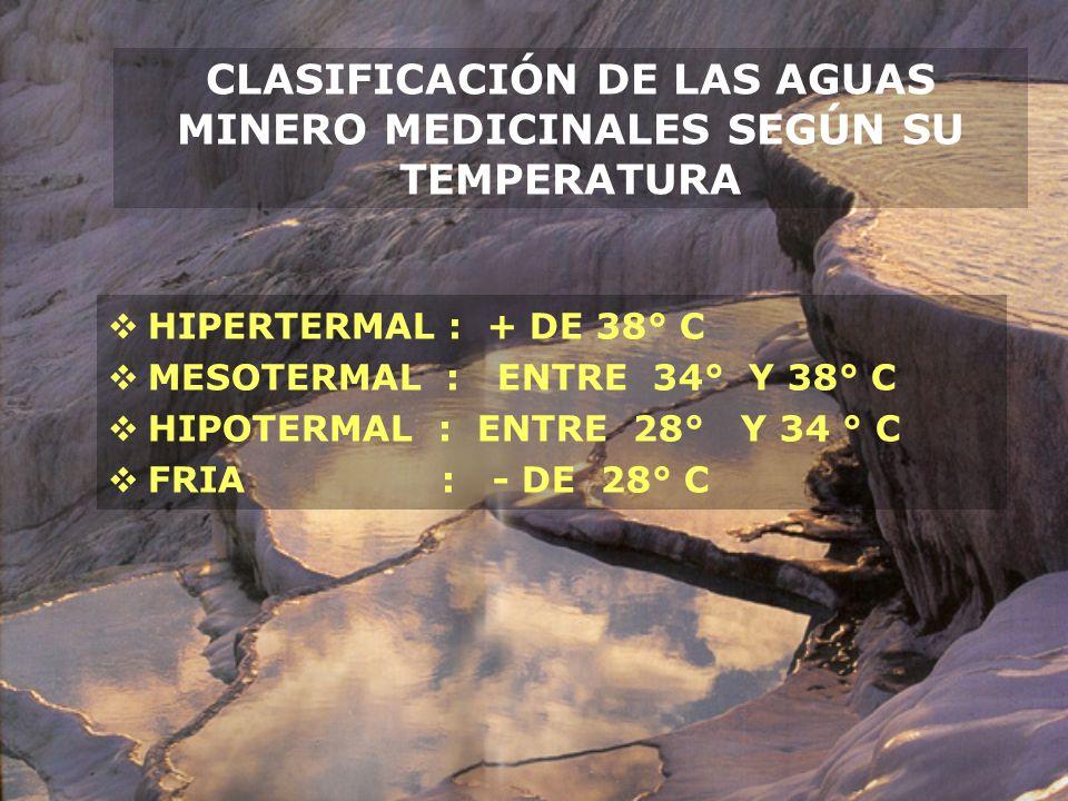CLASIFICACIÓN DE LAS AGUAS MINERO MEDICINALES SEGÚN SU TEMPERATURA HIPERTERMAL : + DE 38° C MESOTERMAL : ENTRE 34° Y 38° C HIPOTERMAL : ENTRE 28° Y 34