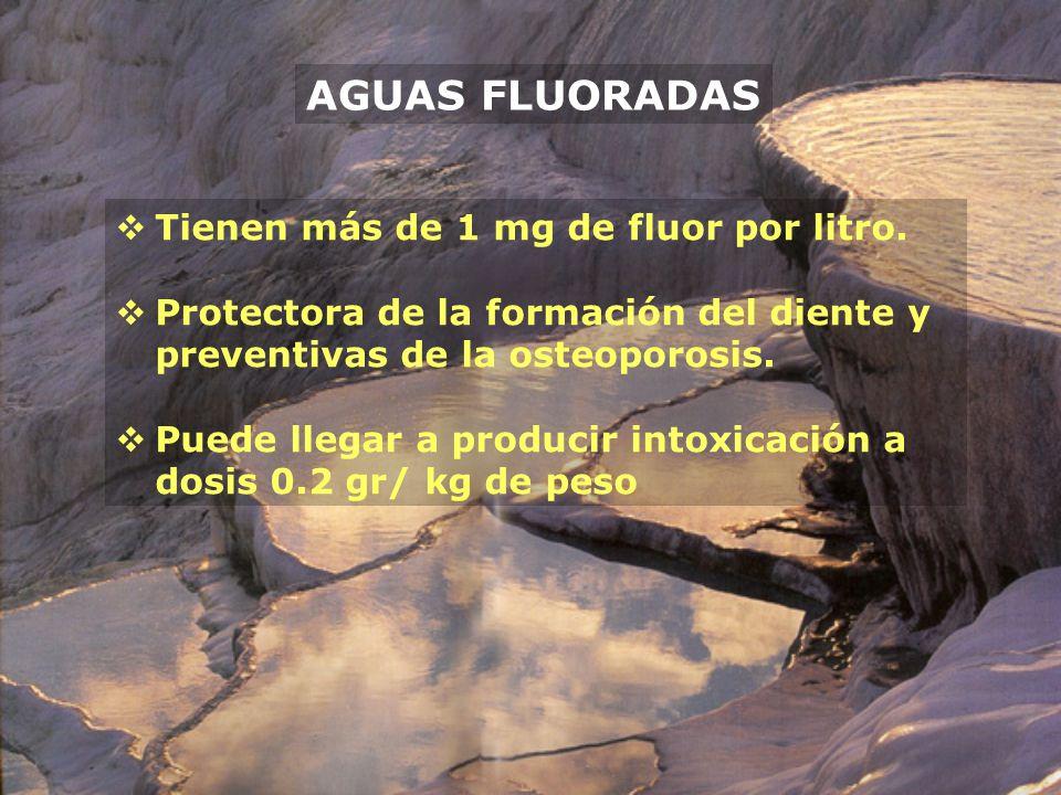 AGUAS FLUORADAS Tienen más de 1 mg de fluor por litro. Protectora de la formación del diente y preventivas de la osteoporosis. Puede llegar a producir