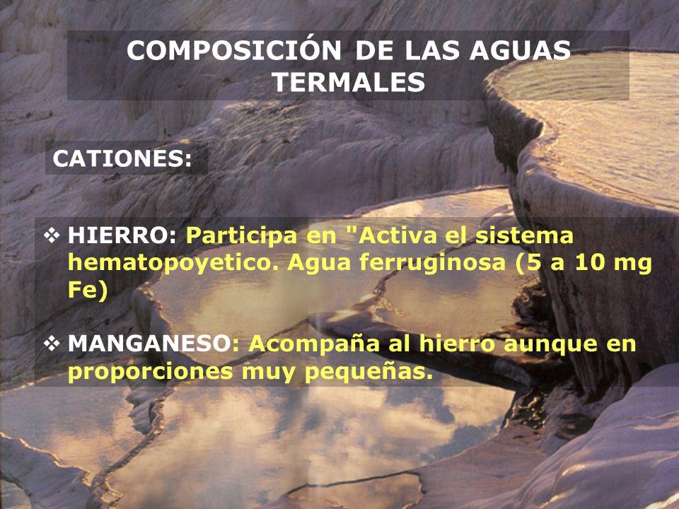 COMPOSICIÓN DE LAS AGUAS TERMALES CATIONES: HIERRO: Participa en
