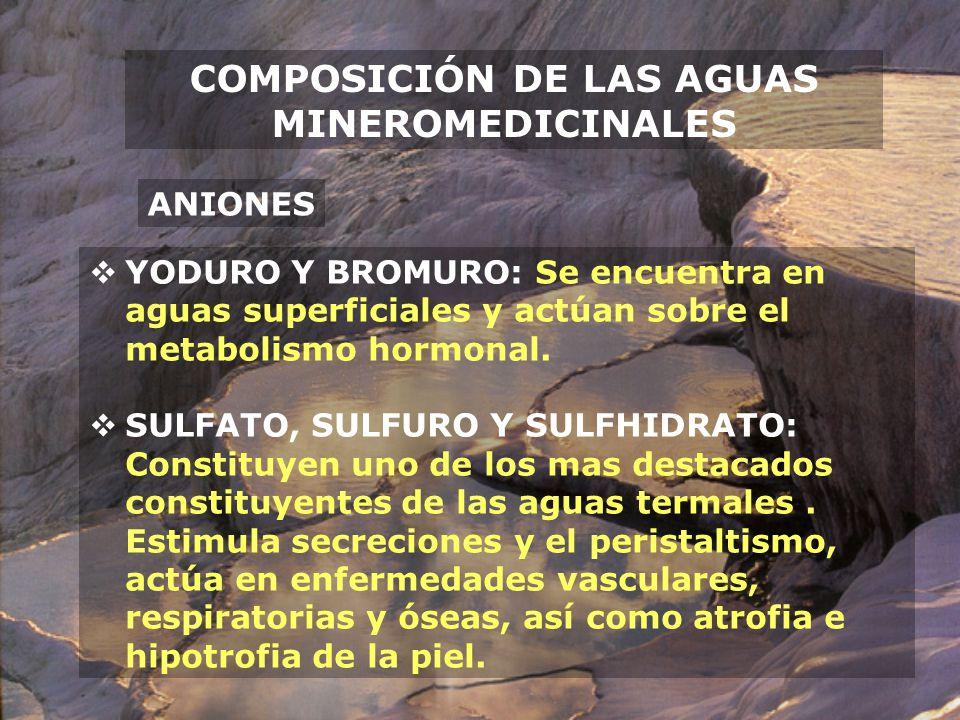 COMPOSICIÓN DE LAS AGUAS MINEROMEDICINALES ANIONES YODURO Y BROMURO: Se encuentra en aguas superficiales y actúan sobre el metabolismo hormonal. SULFA