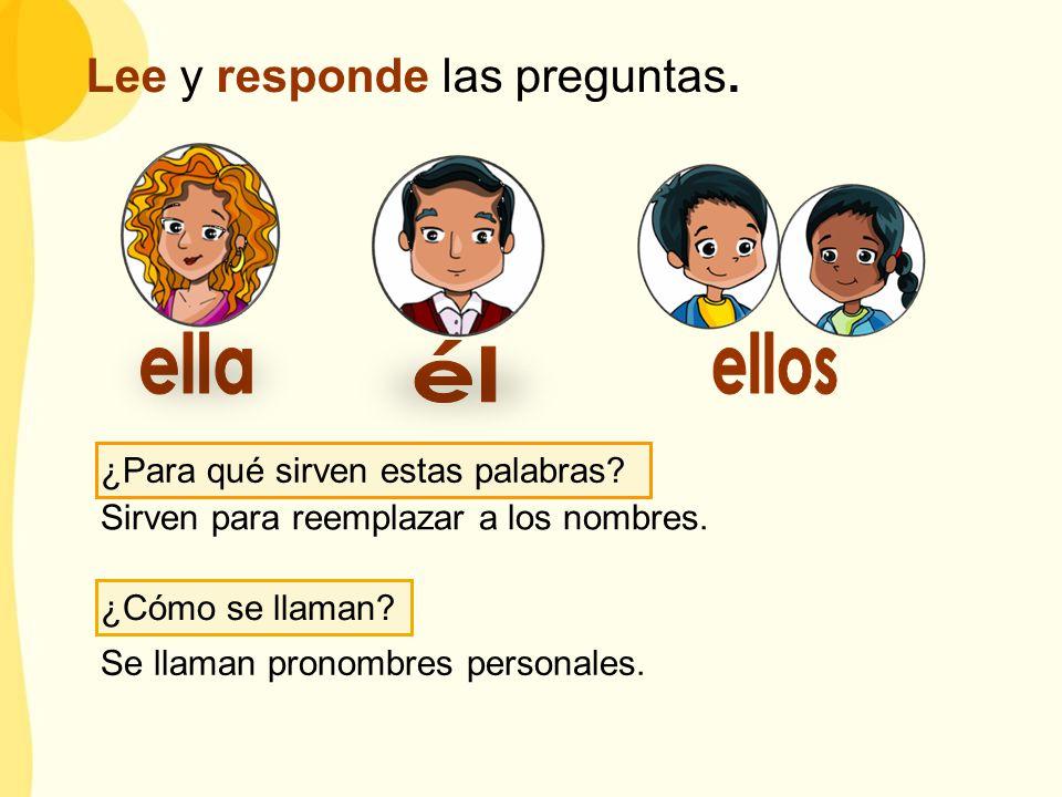 ¿Para qué sirven estas palabras? Sirven para reemplazar a los nombres. ¿Cómo se llaman? Se llaman pronombres personales. Lee y responde las preguntas.