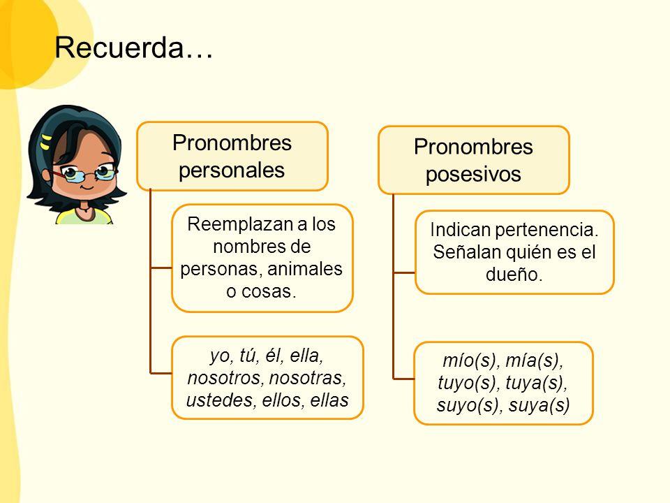 Recuerda… Pronombres personales Pronombres posesivos Reemplazan a los nombres de personas, animales o cosas. Indican pertenencia. Señalan quién es el
