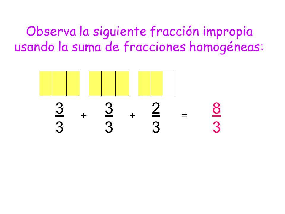 Observa la siguiente fracción impropia usando la suma de fracciones homogéneas: 3333 3333 2323 + + 8383 =