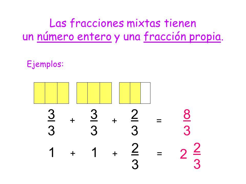 Las fracciones mixtas tienen un número entero y una fracción propia. Ejemplos: 2 2323 11 2323 + += 3333 3333 2323 + + 8383 =