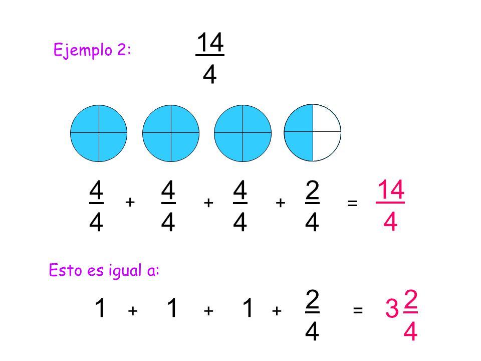3 14 4 4444 4444 4444 + + 1 14 4 = Esto es igual a: 1 2424 ++ = 2424 2424 + 1 + Ejemplo 2: