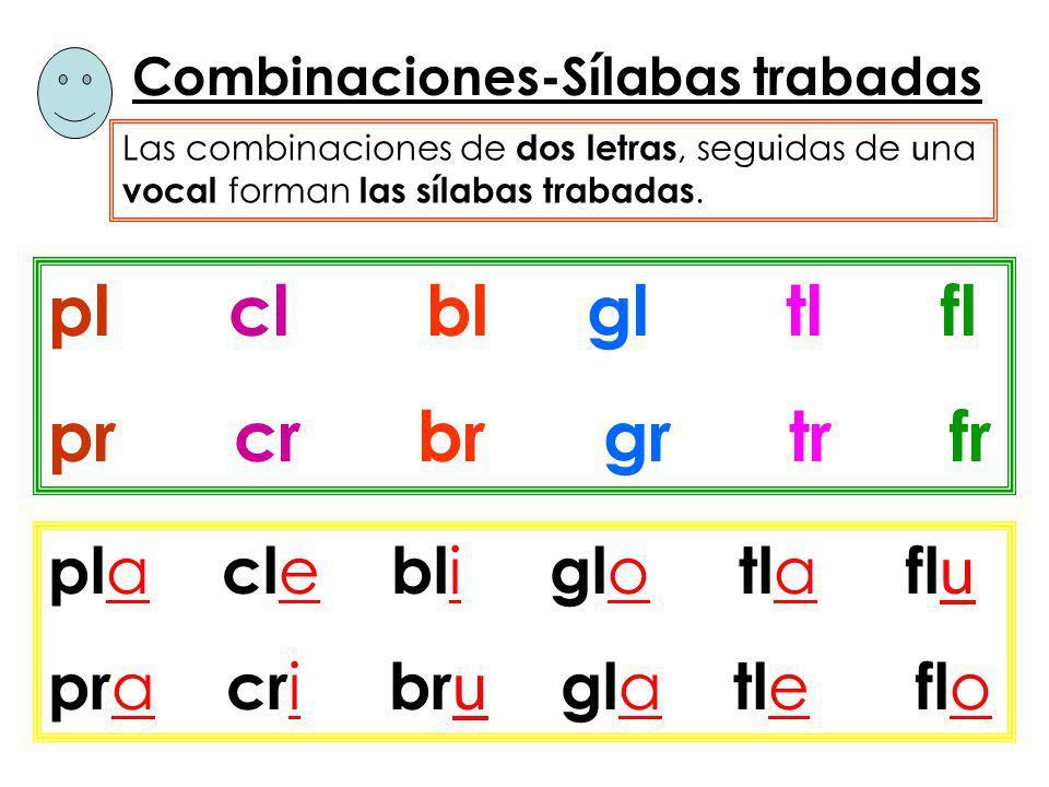 Combinaciones-Sílabas trabadas Las combinaciones de dos letras, seg u idas de u na vocal forman las sílabas trabadas. pl cl bl gl tl fl pr cr br gr tr