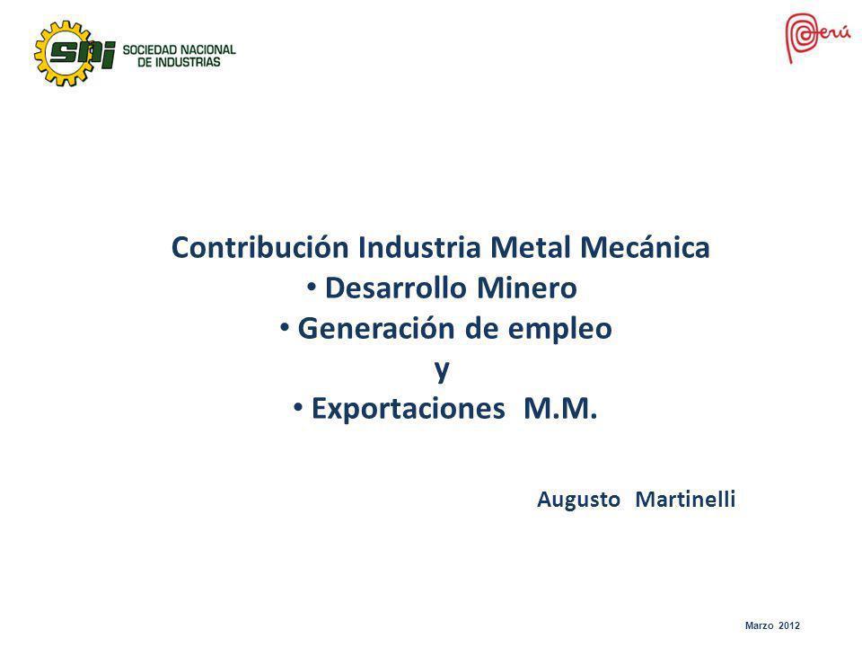 Marzo 2012 Contribución Industria Metal Mecánica Desarrollo Minero Generación de empleo y Exportaciones M.M. Augusto Martinelli