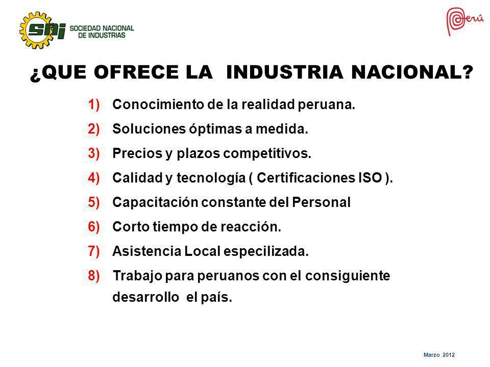 ¿Qué ofrece la Industria Nacional a la Minería ? ¿QUE OFRECE LA INDUSTRIA NACIONAL? 1)Conocimiento de la realidad peruana. 2)Soluciones óptimas a medi