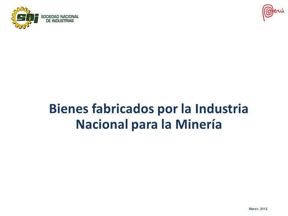 Bienes fabricados por la Industria Nacional para la Minería Marzo 2012