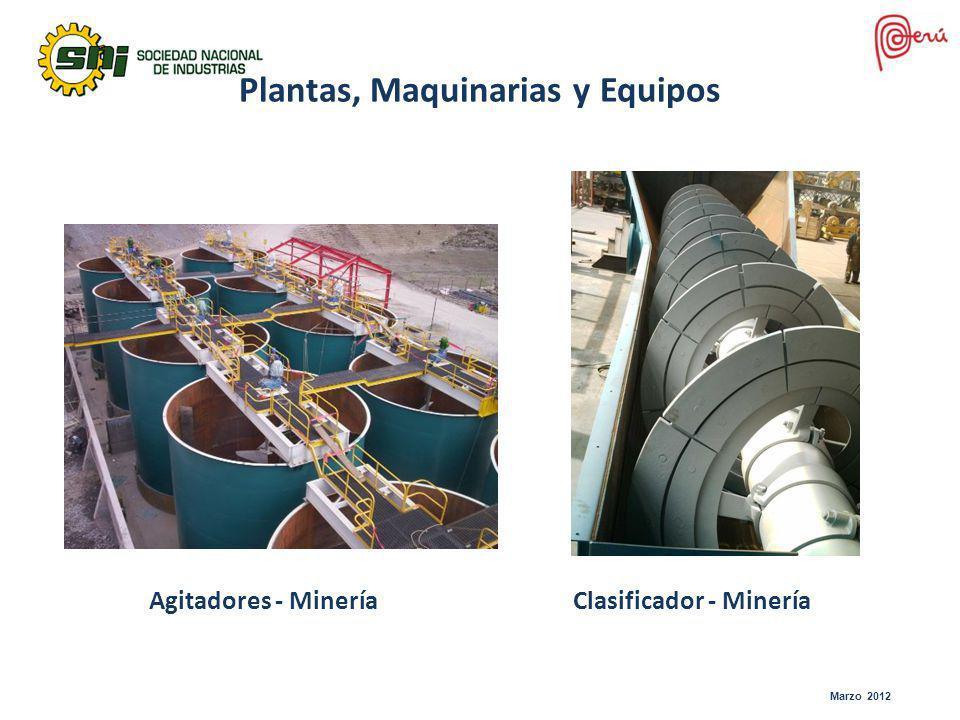 Marzo 2012 Agitadores - Minería Plantas, Maquinarias y Equipos Clasificador - Minería