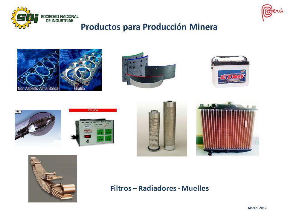 Productos para Producción Minera Filtros – Radiadores - Muelles Marzo 2012