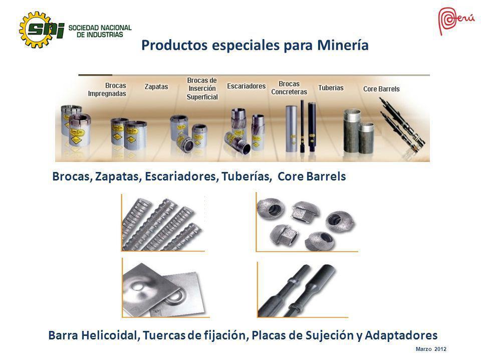 Productos especiales para Minería Brocas, Zapatas, Escariadores, Tuberías, Core Barrels Barra Helicoidal, Tuercas de fijación, Placas de Sujeción y Ad