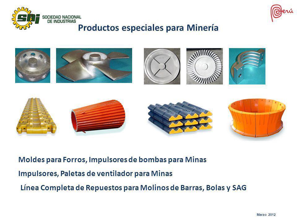 Productos especiales para Minería Impulsores, Paletas de ventilador para Minas Moldes para Forros, Impulsores de bombas para Minas Línea Completa de R
