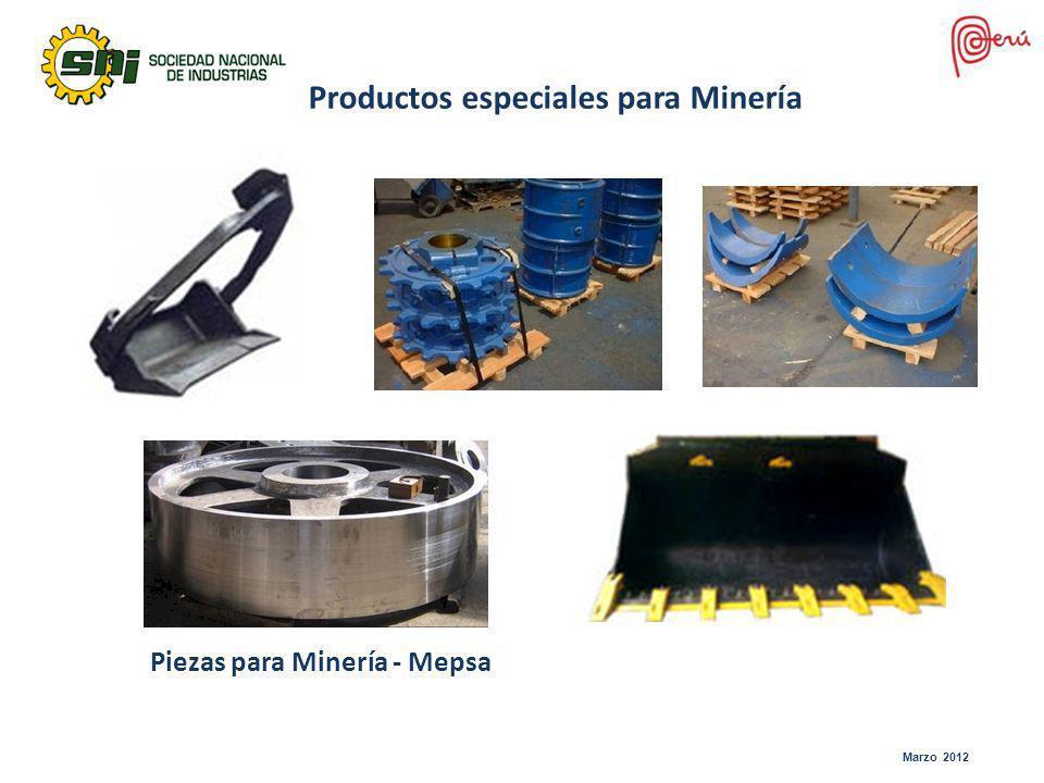 Productos especiales para Minería Piezas para Minería - Mepsa Marzo 2012