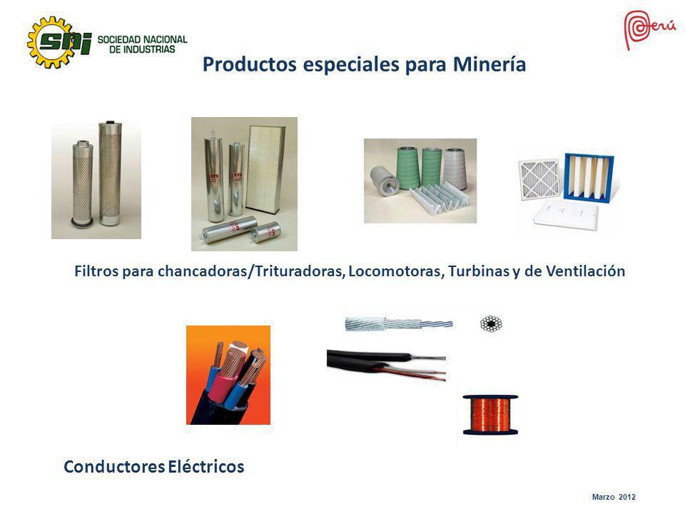 Filtros para chancadoras/Trituradoras, Locomotoras, Turbinas y de Ventilación Productos especiales para Minería Conductores Eléctricos Marzo 2012