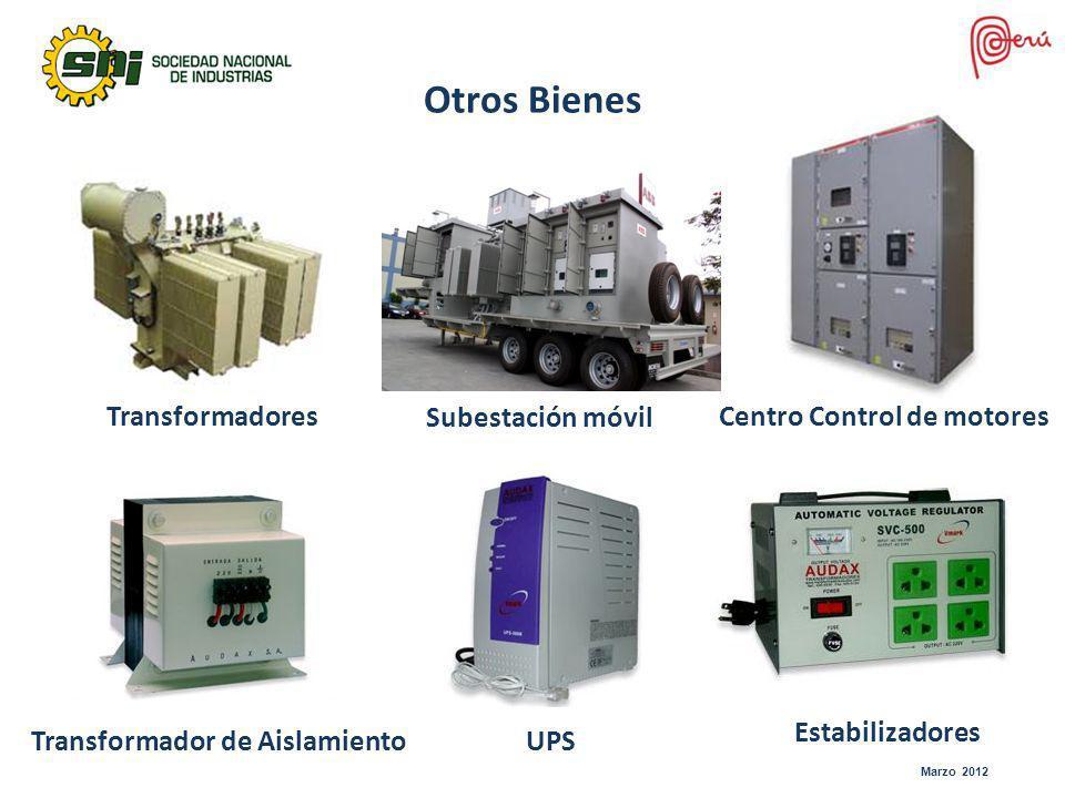 Marzo 2012 Otros Bienes Subestación móvil TransformadoresCentro Control de motores Transformador de AislamientoUPS Estabilizadores