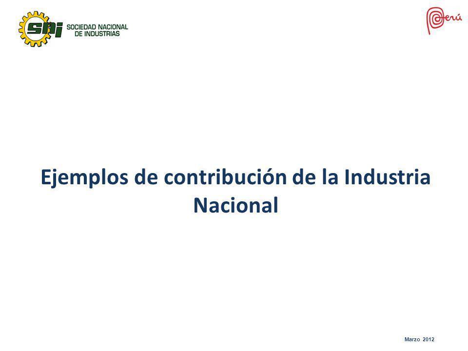 Marzo 2012 Ejemplos de contribución de la Industria Nacional