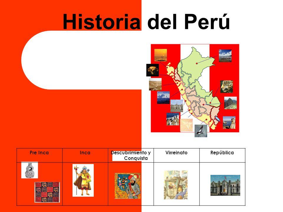 Historia del Perú Pre IncaIncaDescubrimiento y Conquista VirreinatoRepública