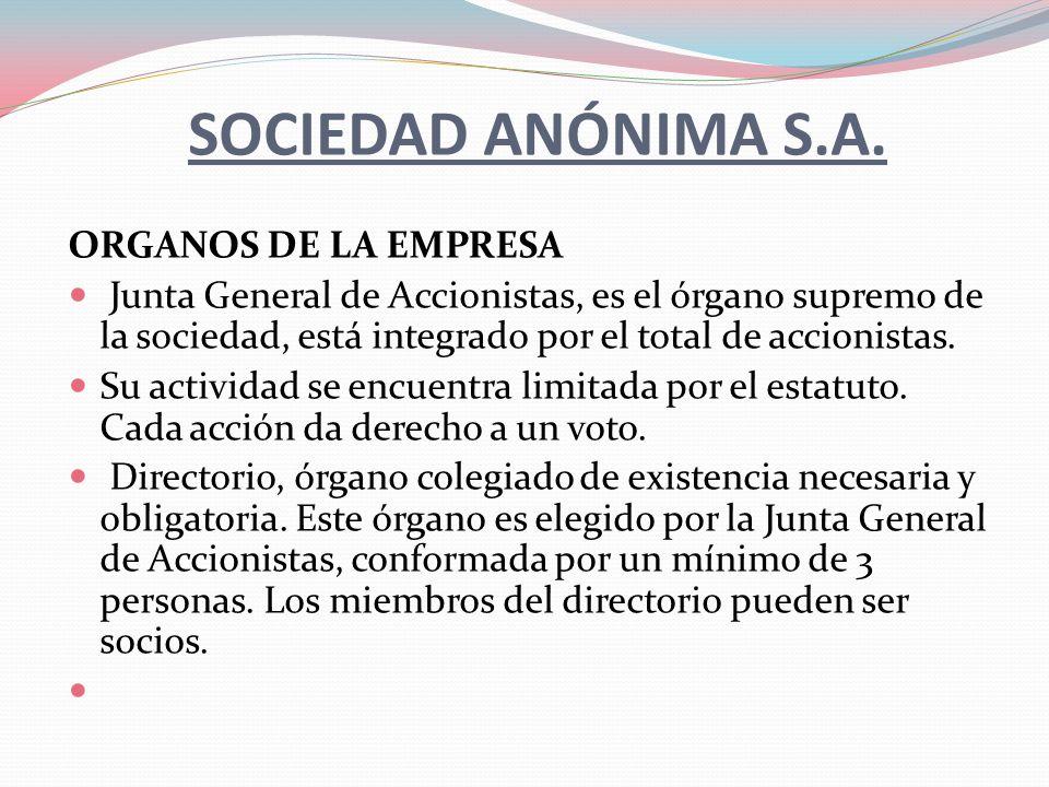 SOCIEDAD ANÓNIMA S.A.ORGANOS DE LA EMPRESA Gerente, es nombrado por el directorio.