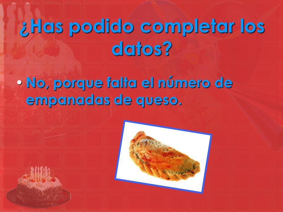 Inventamos el dato que nos falta Los organizadores del cumpleaños han comprado 50 empanadas de carne, 40 de pollo y _____ de queso.