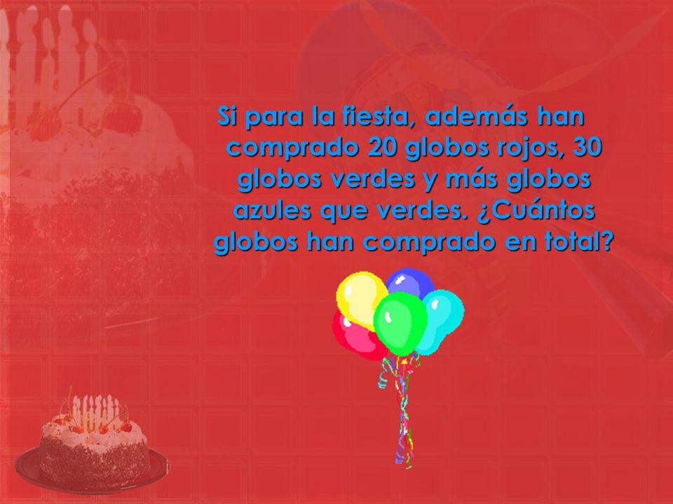 Si para la fiesta, además han comprado 20 globos rojos, 30 globos verdes y más globos azules que verdes. ¿Cuántos globos han comprado en total?