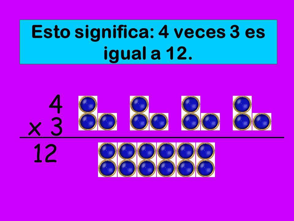Esto significa 3 veces 4 es igual a 12. x 4 3 12