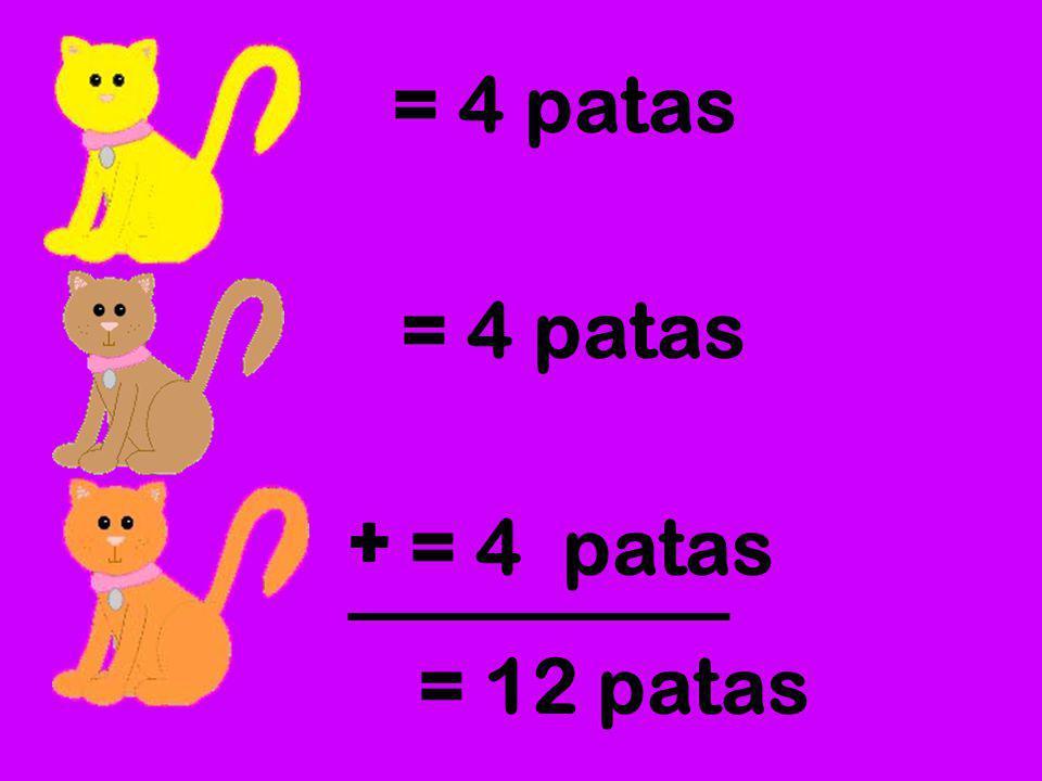 Si Ana tiene 3 gatos y cada gato tiene 4 patas. ¿Cómo podemos saber cuántas patas tienen los tres gatos en total?