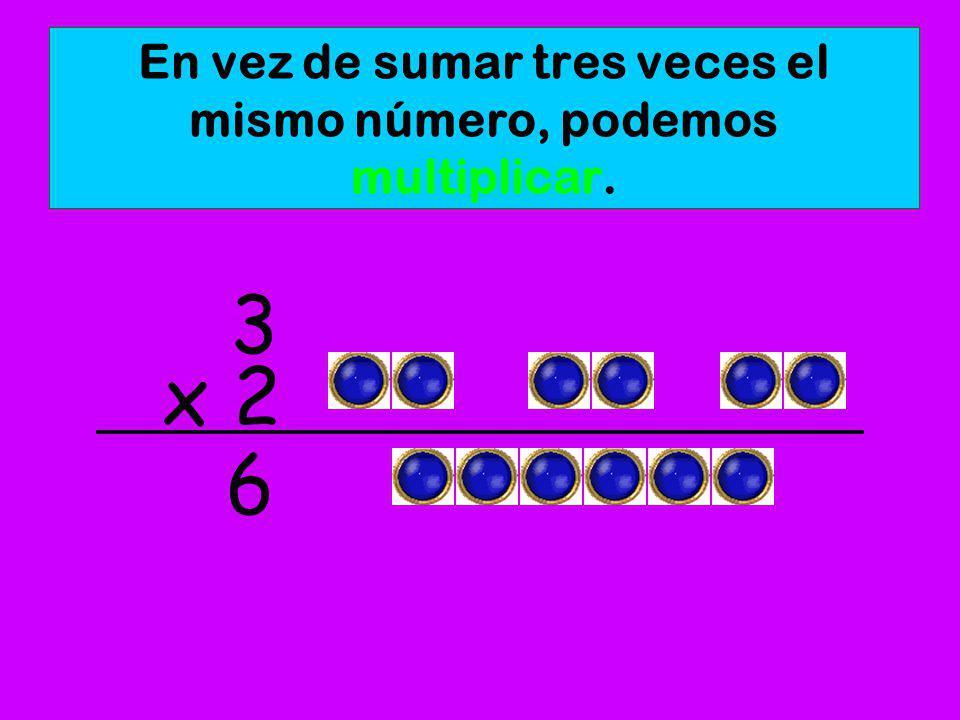 La multiplicación es una manera rápida para sumar números iguales. 22+2+= 6 Sumamos 3 veces el número 2.