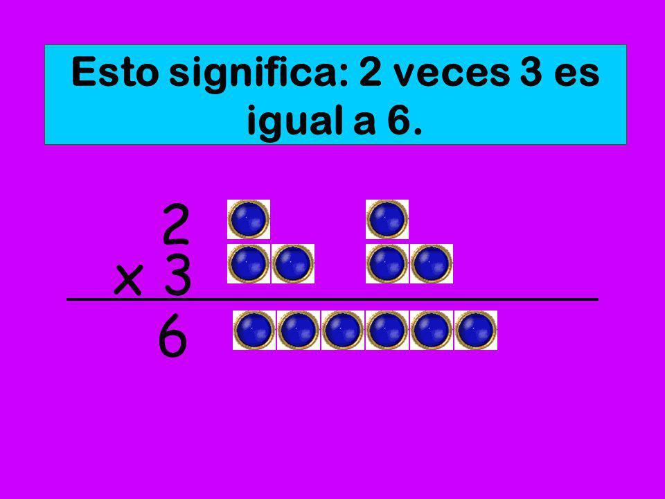 Esto significa: 3 veces 2 es igual a 6. x 2 3 6