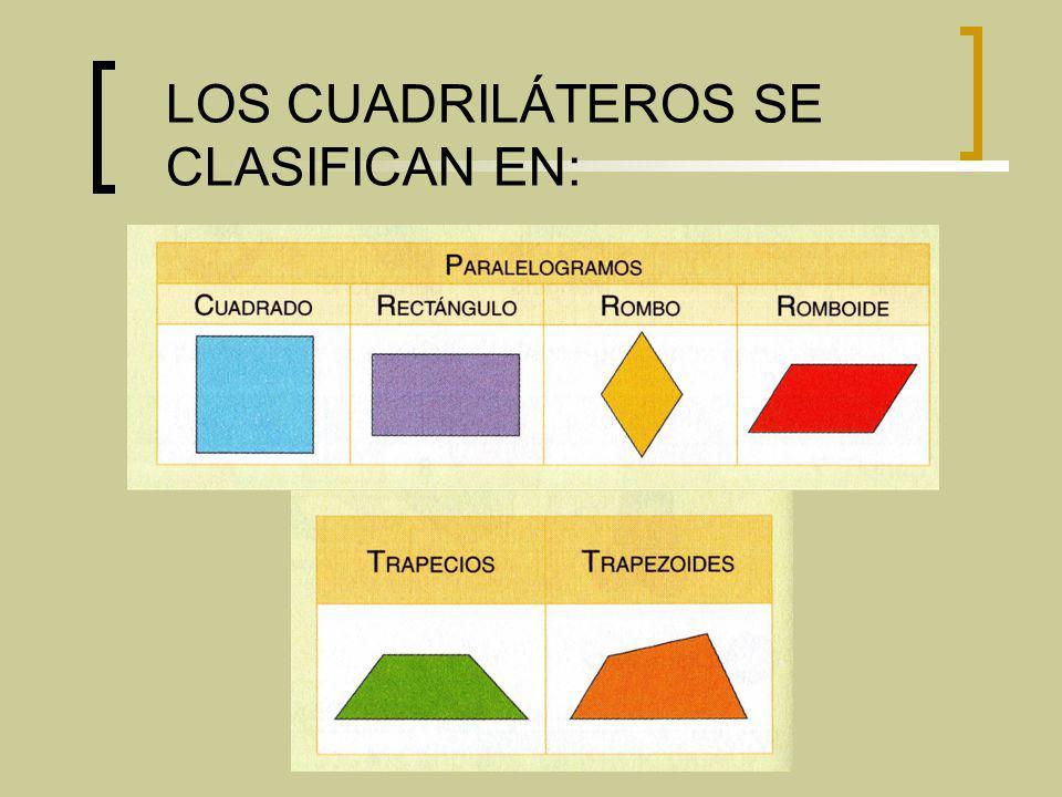 LOS CUADRILÁTEROS SE CLASIFICAN EN: