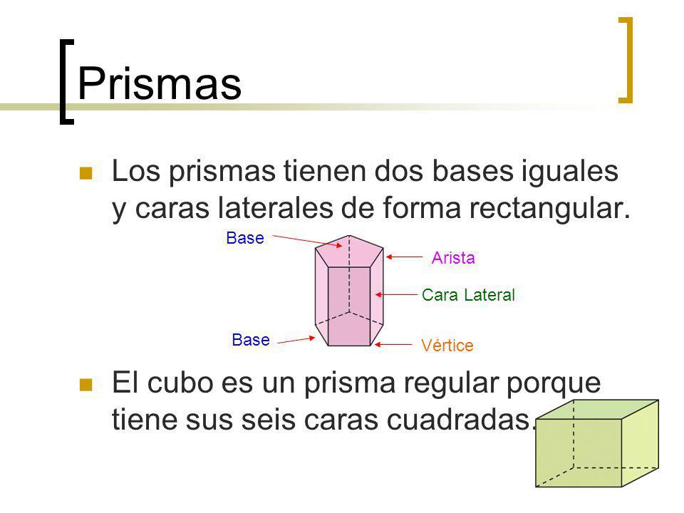 Prismas Los prismas tienen dos bases iguales y caras laterales de forma rectangular. El cubo es un prisma regular porque tiene sus seis caras cuadrada
