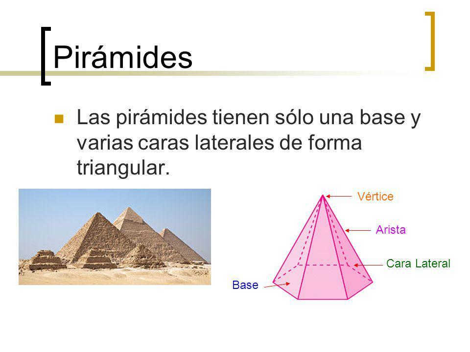 Pirámides Las pirámides tienen sólo una base y varias caras laterales de forma triangular. Base Cara Lateral Arista Vértice