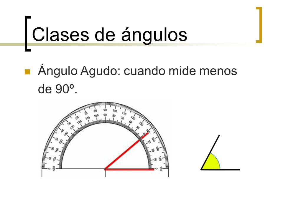 Clases de ángulos Ángulo Obtuso: cuando mide mas de 90º.