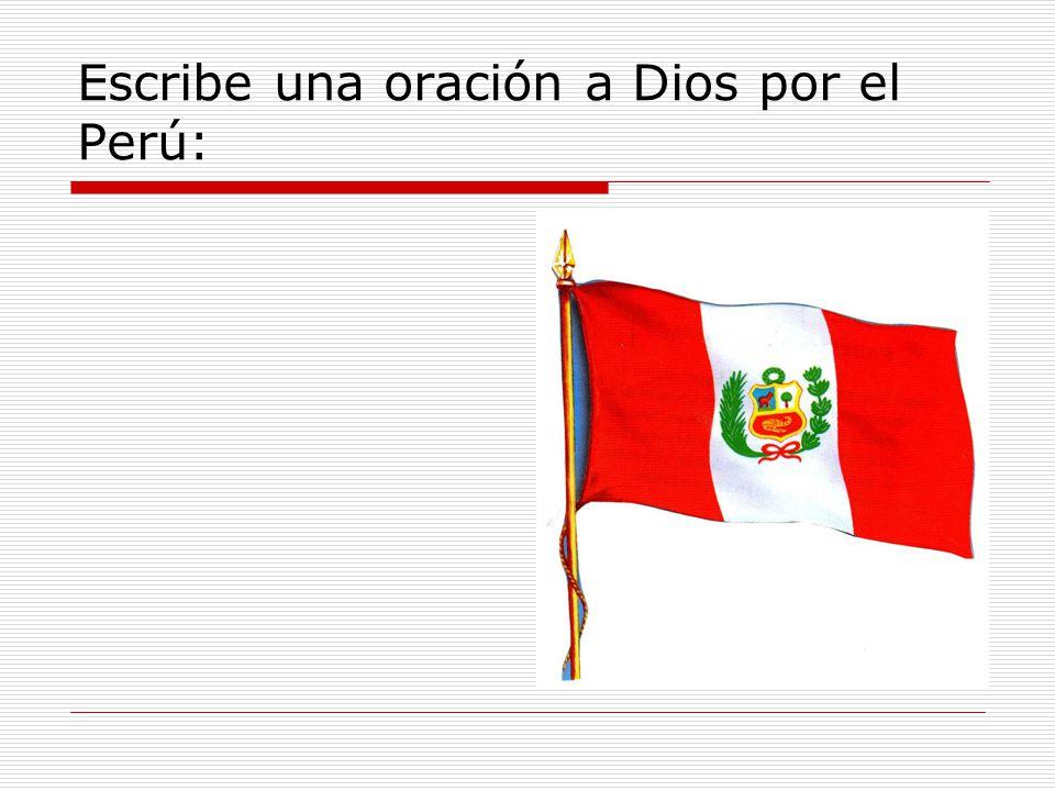 Escribe el nombre de los símbolos del Perú.