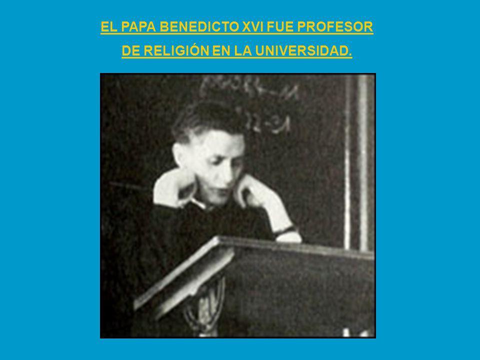 EL PAPA BENEDICTO XVI FUE PROFESOR DE RELIGIÓN EN LA UNIVERSIDAD.