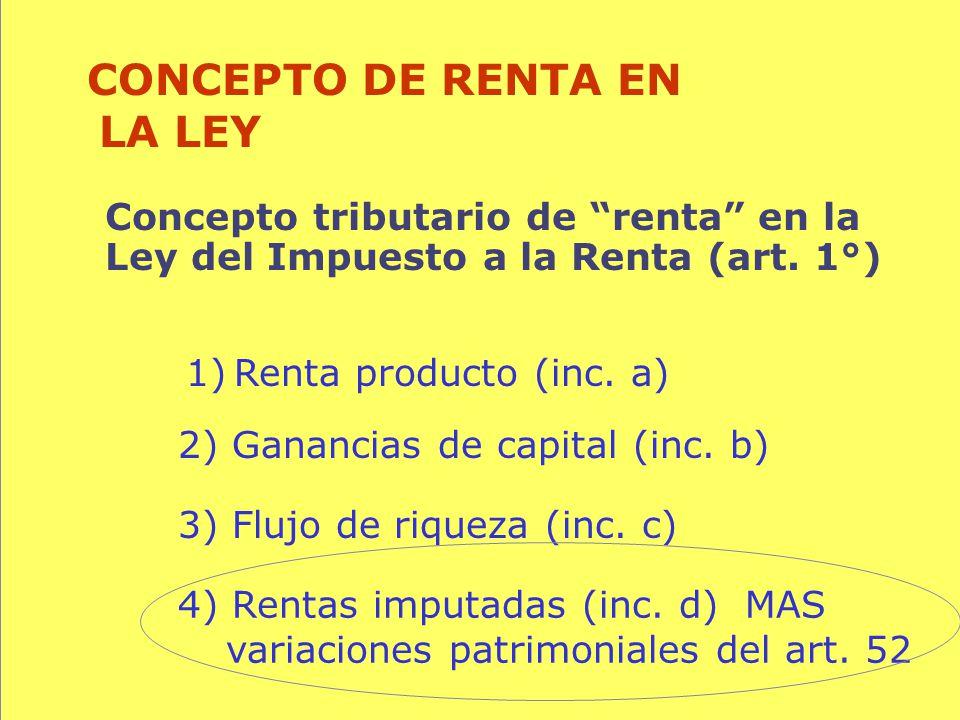 105 Concepto tributario de renta en la Ley del Impuesto a la Renta (art. 1°) CONCEPTO DE RENTA EN LA LEY 1)Renta producto (inc. a) 3) Flujo de riqueza