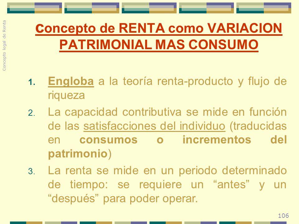 106 c oncepto de RENTA como VARIACION PATRIMONIAL MAS CONSUMO 1. Engloba a la teoría renta-producto y flujo de riqueza 2. La capacidad contributiva se