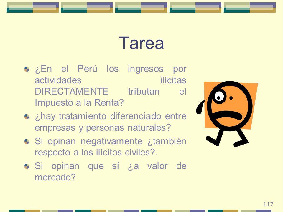 117 Tarea ¿En el Perú los ingresos por actividades ilícitas DIRECTAMENTE tributan el Impuesto a la Renta? ¿hay tratamiento diferenciado entre empresas