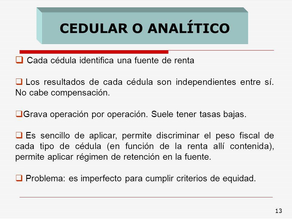 13 Cada cédula identifica una fuente de renta Los resultados de cada cédula son independientes entre sí. No cabe compensación. Grava operación por ope